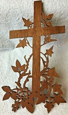 Laser Cut Wood Cross Thorns Ivy Jesus Chapel Decor Religious Gift Wooden