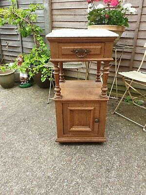 Beautiful Antique French Vintage White Marble Topped Solid Oak Pot Cupboard