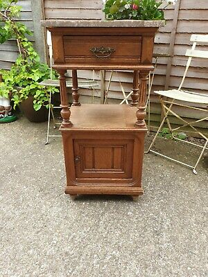 Beautiful Antique French Vintage Marble Topped Solid Oak Pot Cupboard