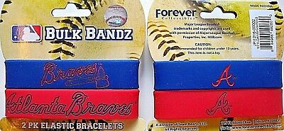 One Pack Of 2 Atlanta Braves Blue And Red Rubber Wrist Bracelets With Team Logos