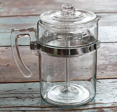 Vintage PYREX Flameware 5-piece 6-cup percolator 7826B Pre-owned