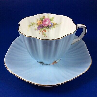 E.B. Foley Light Blue And Floral Bone China Ruffled Tea Cup And Saucer
