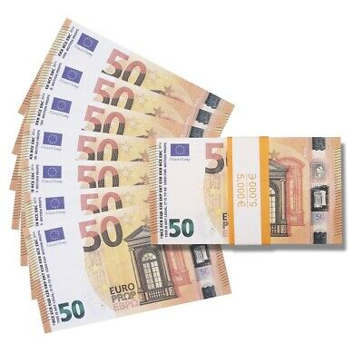 100x 50 Notes Realistic Spain France Movie Prop Money Euros Euro Prank Gift Bday