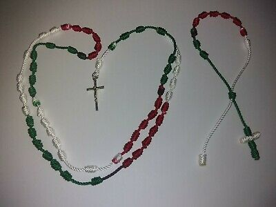 Handmade Knotted Rosary And Single Decade Bracelet (Color Green, White & Red)