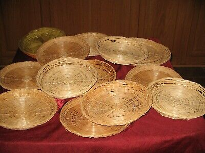 "Plate Holders Lot of 16 Vintage Wicker/Rattan/Bamboo 10"" Paper Plate Holders"
