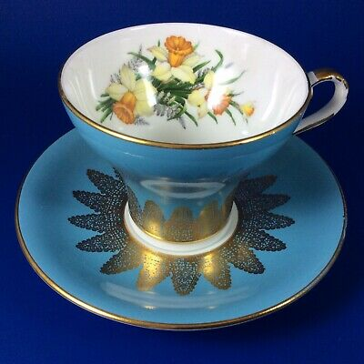 Aynsley Yellow Daffodil Teal Blue Corset Bone China Tea Cup And Saucer