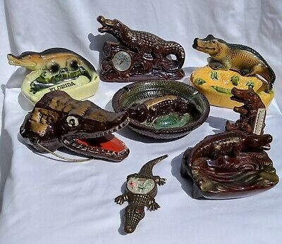 LOT of 8! Vintage FL Souvenir Alligators - Redware & others Ashtray Thermometers