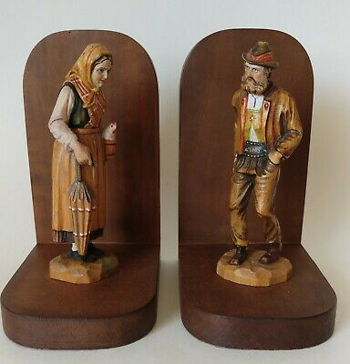 Antique Hand Carved Wood Bookends Germany