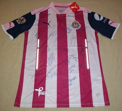 503b3aeaa73 2017 Chivas Guadalajara Team signed Champions Project Pink Jersey Mexico  Proof