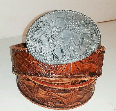 Longhorn STEER Zee SERIES ADM Design Vintage Belt Gebuine Leather Mexico Size 40