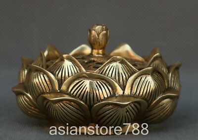 Marked Chinese Bronze Ancient Hollow out Lotus Flower Incense Burner Censer