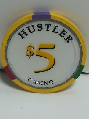 $5 Hustler Casino Poker Chip Gardena California Larry Flynt Paulson hat and cane