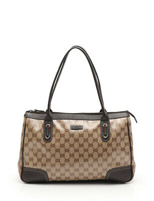 f79d5a75c GUCCI GG Crystal sherry line tote bag coated canvas leather beige brown
