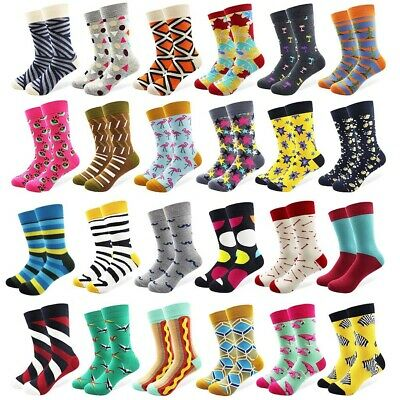 Mens Combed Cotton Socks Funny Colorful Multi Pattern Novelty Casual Socks 7-11
