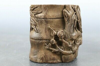 Fine Beautiful Chinese Eaglewood Carved Bamboo Brush Pot