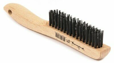 Forney 70505 Wire Scratch Brush, Carbon Steel with Wood Shoe Handle, 10-1/4-Inch