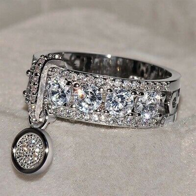 Engagement Jewelry Wedding Ring Band Clear Cubic Zirconia Fashion Gift Size 5-11
