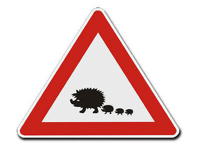 Triangular Traffic Sign with Motif Hedgehog S4342