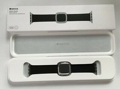 Genuine Apple Watch Black LEATHER Strap Modern Buckle Size Large Fits 38mm +40mm