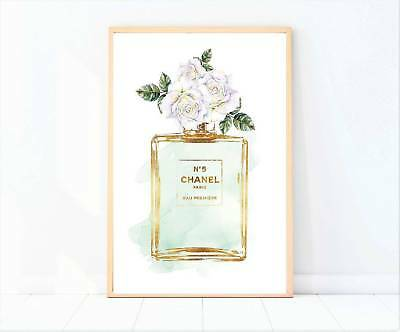 artwork perfume bottle in mint miss coco print poster