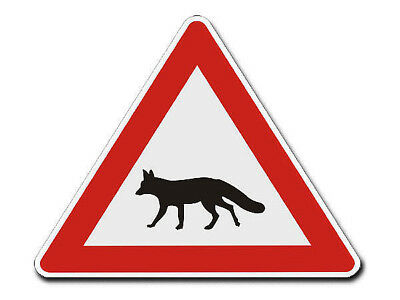 Triangular Traffic Sign with Motif Fox S4340