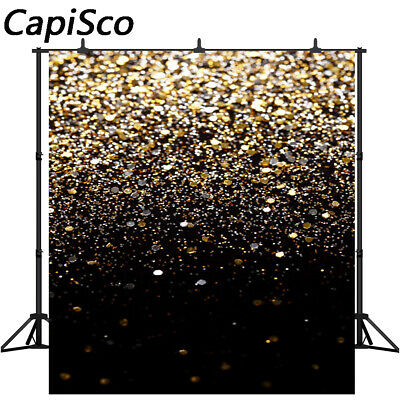 Golden Glitter Sequin Spot Black Photography Backdrop Birthday Party Backgrounds