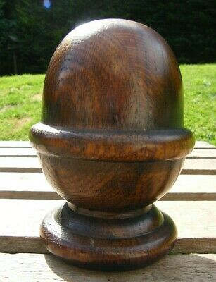 A  RECLAIMED ANTIQUE CARVED OAK STAIR NEWEL POST CAP TOP FINIAL #b3