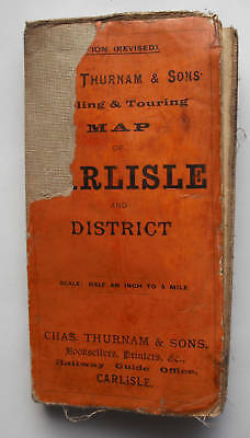 c1910 Cycling & Touring Map Carlisle & District Gall & Inglis for Chas Thurnham