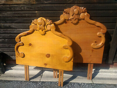 Pair Pine Carved Bed Head Foot Board Headboard Floor Standing with fixing struts