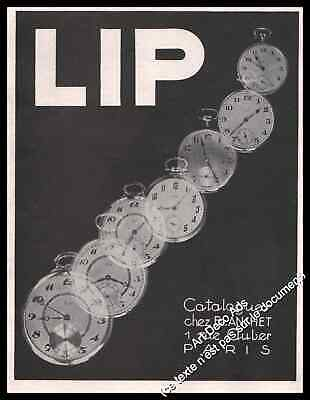 Publicité Montres LIP  Watch Pocket watches Vintage Ad Advertising 1928