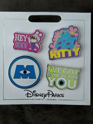 Disney Parks Authentic Monsters Inc. 4 Pin Themed Set on Card