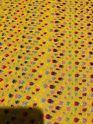 Vintage 3 1/2 Fabric Bright Yellow Cooled Dots 46 Inches Wide