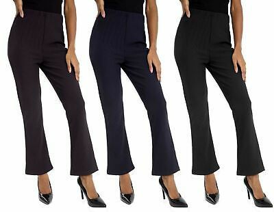 New Ladies Pack Of 3 Bootleg Stretch Finally Ribbed Trousers Black Size 10-26