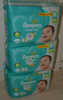 LOT DE 240 COUCHES PAMPERS BABY DRY taille 4+  MEGA PACK 10-15 kg NEUF