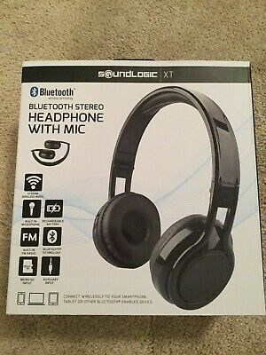80a0a4d8a9c Soundlogic XT Bluetooth Headphones Stereo With Mic Foldable Design Black **NEW**