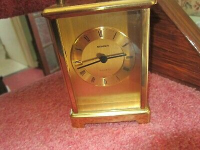 Vintage Staiger german Brass Cased Quartz Carriage Mantle Clock - Working £9.99