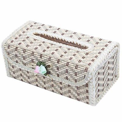 Natural Bamboo Handmade Tissue Box Cover Holder for Vehicle,Lace beige whit W6Q8