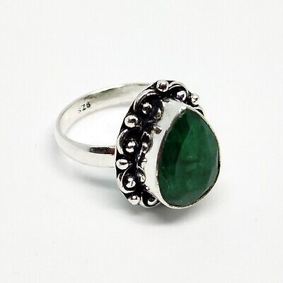 Dyed Emerald GemStone Ring 925 Sterling Silver Plated Jewelry Size 8.5