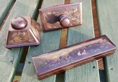 Nearly Antique Vintage Chinese Black Lacquer Desk Set Ink Well Blotter Pen Box