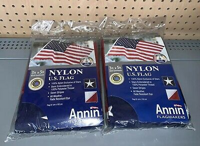 3x Annin US American Flag 3 x 5 ft. 100% Nylon Embroidered Star Premium Quality