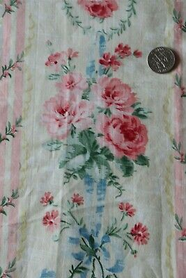 """Pretty French Antique c1880 Cotton Pink Roses & Blue Ribbon Printed Fabric~19""""Sq"""