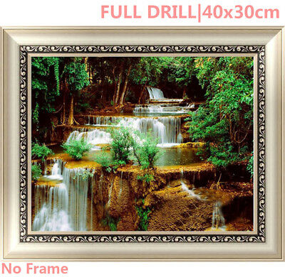 US Full Drill Water fall Forest 5D Diamond Painting Embroidery Cross Stitch