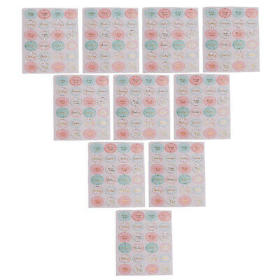 10 Sheets Thank You Labels Self Adhesive Decorative Sealing Stickers golden