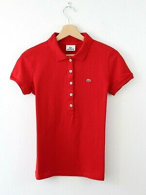 4e1d100f5 O66 Lacoste Polo Women Red Short Sleeve Shirt Classic Fit Coton Elasta Size  40 M