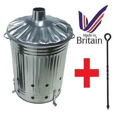 LARGE 90LITRE  INCINERATOR With POKER  GARDEN PAPER RUBBISH LEAVES BURNER Bin .