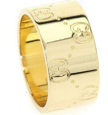 bd4d6e642 GUCCI ICON COLLECTION 18K Yellow Gold Ring Engraved GG Motif 8.5 ...