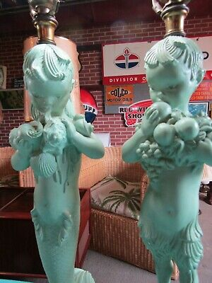 2 Pair RARE Barbara Baldwin Boy & Girl Mermaid Mid Century Lamps