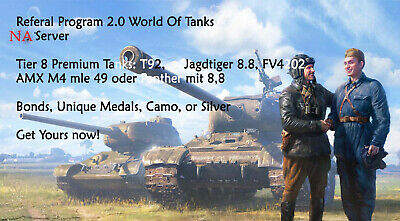 Wot World of tanks Referral Program 2.0 - NA SERVER 6 days guaranteed! 1 Recruit