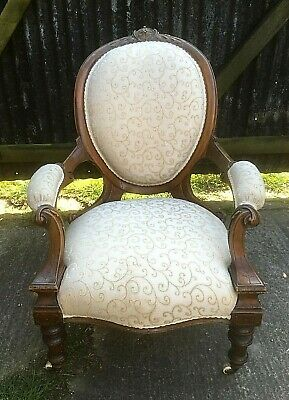 Victorian Carved Walnut Gents Armchair With Cameo Back
