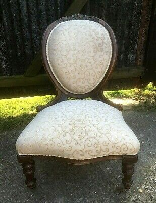 Victorian Carved Walnut Ladies Cameo Back  Nursing Chair